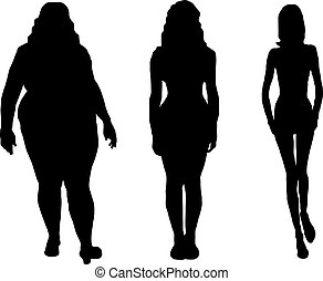women - set of fat and skinny women