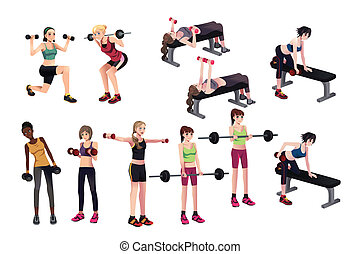 A vector illustration of beautiful women exercises with weights