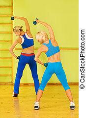 Women exercising in fitness club