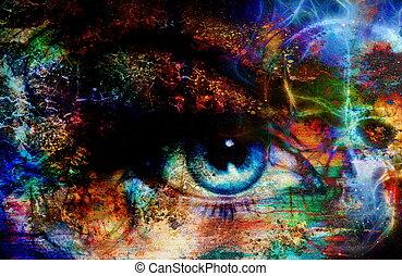 women eye and skull, computer collage, Eye contact.