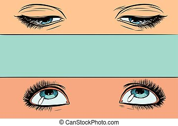 women eyes look up and down