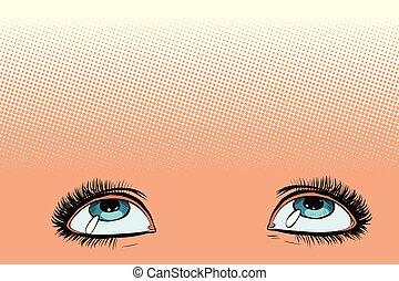 women eyes look up