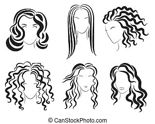 Women face hair style silhouette logo. Vector Illustration.