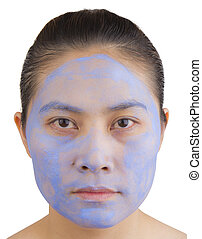 Women face mask. - Women face mask with herbal powder on...