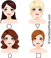 Women Face Shape Types - Different women with different face...