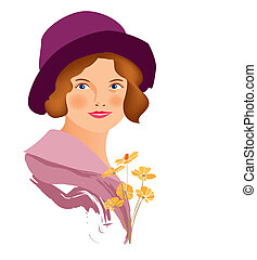 women face vintage - is an illustration in eps file