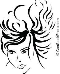 Women face - Women stylized black silhouette face