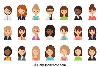 Women faces, avatars in flat design. Vector illustration.