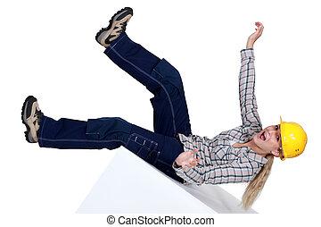 Women falling backwards