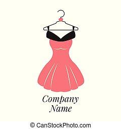 Women fashion logo design template. Dress emblem