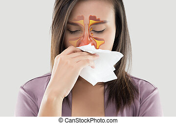 Women feeling unwell and sinus on gray background