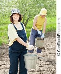women fertilizes  soil in garden