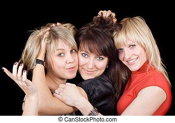 women., fiatal, elszigetelt, három, vidám, portré