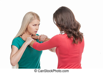 Women fight. Two women fighting while isolated on white