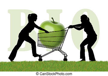 silhouette of two young women trying to monopolize a shopping caddy with a huge green bio apple
