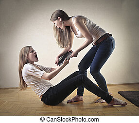 Women fighting for shoes