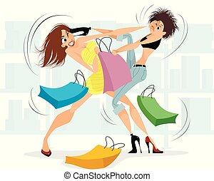 Women fighting in the store