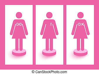 Women figures with ribbons and symbols breast cancer awareness and prevention campaign. EPS10 vector file organized in layers for easy editing.