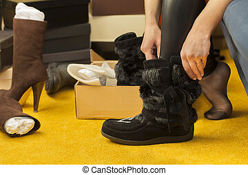 Women fit on boots