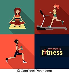 women fitness - Vector icons on the topic of fitness for...