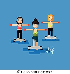 Women fitness flat vector illustration - step aerobics with lettering calligraphy