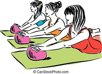 women fitness yoga with ball vector illustration