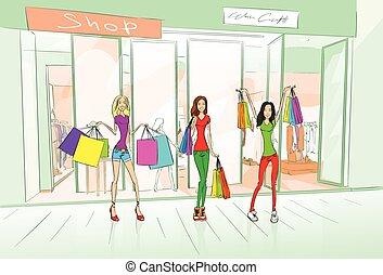 Women Friends Shopping Bags, Shop Mall Center