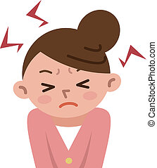 Women frustrated by stress - Vector illustration.