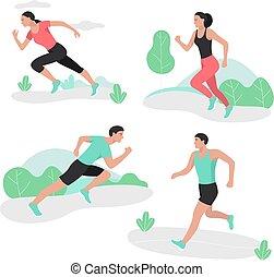 women., gens, hommes, courant, sprint, sport