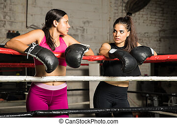 Women getting ready for a box fight
