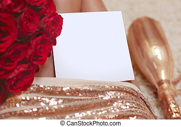Women gift holiday romantic background. Greeting card for...