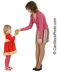 Women give apple to the girl