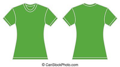 Women Green Shirt Design Template - Vector illustration of...
