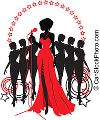 Women group graphic silhouettes. Different person