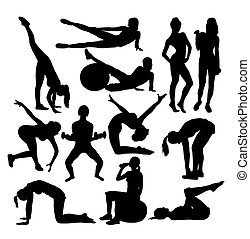 Women Gym Fitness Exercise Activity Silhouettes, art vector...