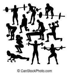 Women Gym Fitness Exercise Workouts Silhouettes, art vector...
