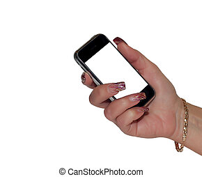 women hand holding mobile phone isolated