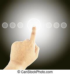 women hand pushing button