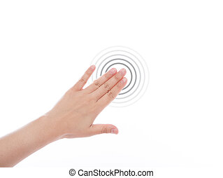Women hand use multi-touch gestures for tablets or touch...