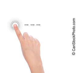 Women hand used multi-touch gestures for tablets or smart...