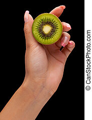 women hand with kiwi fruit