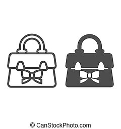 Women handbag with bow line and solid icon, Mother day concept, female fashion accessory sign on white background, ladies bag with bow icon in outline style for mobile and web. Vector graphics