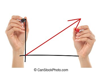Women hands drawing a growth graphic in the air with a...