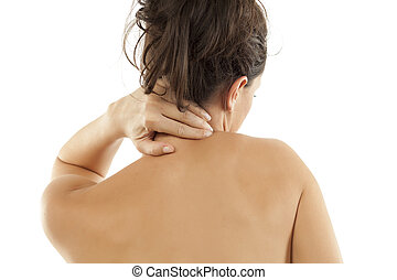 shoulder and nape pain woman having pain on her back