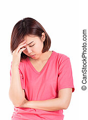 Women having headache, migraine, hangover, insomnia.