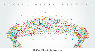 Women heads shape social media network composition. EPS10...