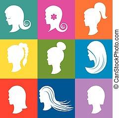 Women heads with beautiful hair