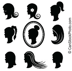 Women heads with beautiful hair  vector1