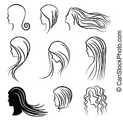 Women heads with beautiful hair vector2