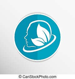 women health, beauty and treatment symbols, emblems icons.